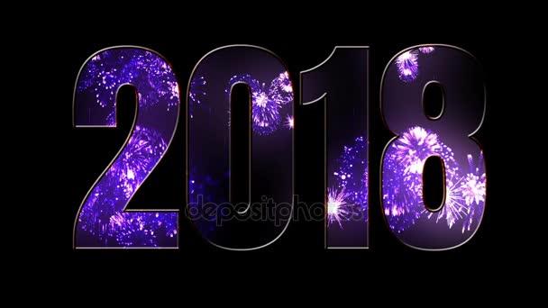 Összetétele az új 2018 évre. Gyönyörű lila tűzijáték keresztül a felirat 2018. Fényes tűzijátékot, csodálatos fény show. V6