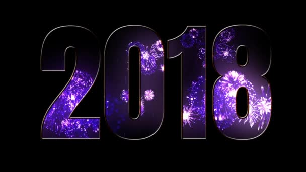Složení nového roku 2018. Krásné fialové ohňostroje prostřednictvím nápis 2018. Světlé ohňostroje, úžasné světelnou show. V7
