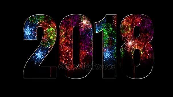 Összetétele az új 2018 évre. Gyönyörű zöld piros lila tűzijáték keresztül a felirat 2018. Fényes tűzijátékot, csodálatos fény show. V6
