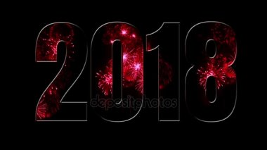 Composition for the new 2018 year. Beautiful red fireworks through the inscription 2018. Bright fireworks, amazing light show. V1