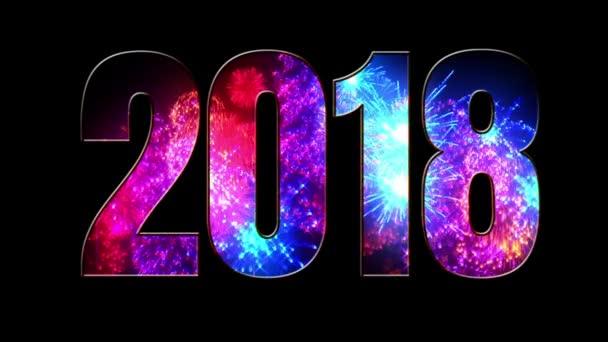 gyönyörű kék piros lila tűzijáték keresztül a felirat 2018. Összetétele az új 2018 évre. Fényes tűzijátékot, csodálatos fény show. V1