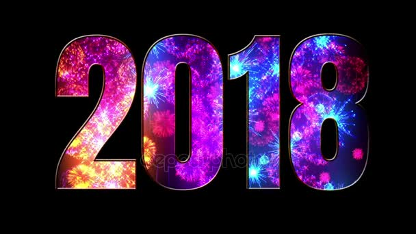 gyönyörű kék piros lila tűzijáték keresztül a felirat 2018. Összetétele az új 2018 évre. Fényes tűzijátékot, csodálatos fény show. V2
