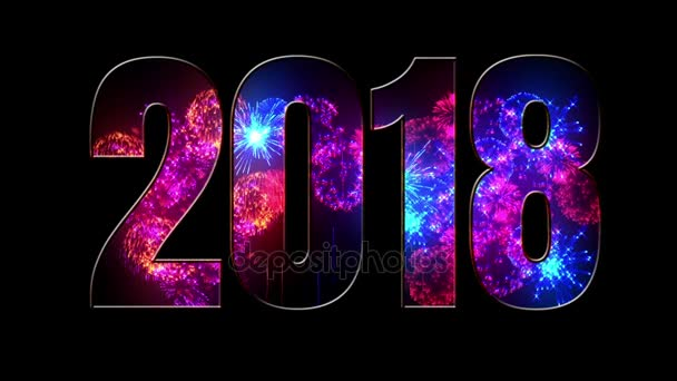beautiful blue red purple fireworks through the inscription 2018. Composition for the new 2018 year. Bright fireworks, amazing light show. V4