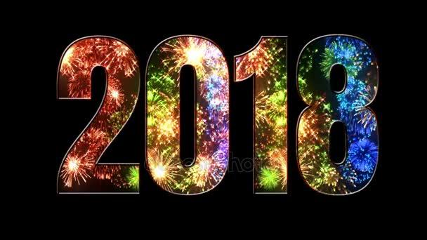 více krásné barevné ohňostroje prostřednictvím nápis 2018. Složení nového roku 2018. Světlé ohňostroje, úžasné světelnou show. V1