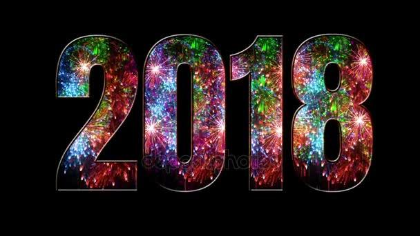 více krásné barevné ohňostroje prostřednictvím nápis 2018. Složení nového roku 2018. Světlé ohňostroje, úžasné světelnou show. V4