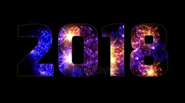 beautiful blue orange purple fireworks through the inscription 2018. Composition for the new 2018 year. Bright fireworks, amazing light show. Many pyrotechnic volleys. V 3