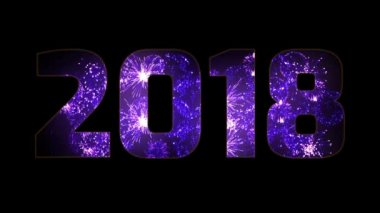 beautiful purple fireworks through the inscription 2018. Composition for the new 2018 year. Bright fireworks, amazing light show. Many pyrotechnic volleys. V3