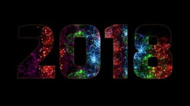 beautiful multi colored fireworks through the inscription 2018. Composition for the new 2018 year. Bright fireworks, amazing light show. Many pyrotechnic volleys. V3