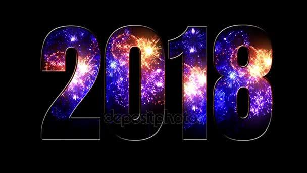 krásné modré červené fialové ohňostroje prostřednictvím nápis 2018. Složení nového roku 2018. Světlé ohňostroje, úžasné světelnou show. V7