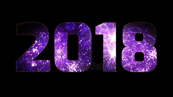gyönyörű lila tűzijáték keresztül a felirat 2018. Összetétele az új 2018 évre. Fényes tűzijátékot, csodálatos fény show. Számos pirotechnikai sortüzek. V1