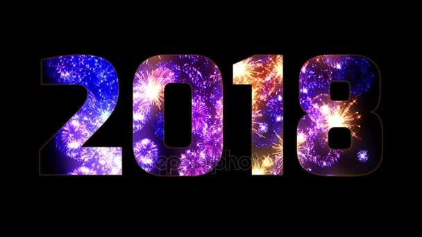 krásné modré oranžové fialová ohňostroje prostřednictvím nápis 2018. Složení nového roku 2018. Světlé ohňostroje, úžasné světelnou show. Mnoho pyrotechnické salvy. V. 2