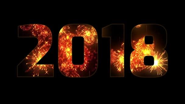 gyönyörű tűzijátékok keresztül a felirat 2018. Összetétele az új 2018 évre. Fényes tűzijátékot, csodálatos fény show. Számos pirotechnikai sortüzek. V8-AS