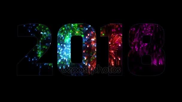 gyönyörű multi színes tűzijáték keresztül a felirat 2018. Összetétele az új 2018 évre. Fényes tűzijátékot, csodálatos fény show. Számos pirotechnikai sortüzek. V6