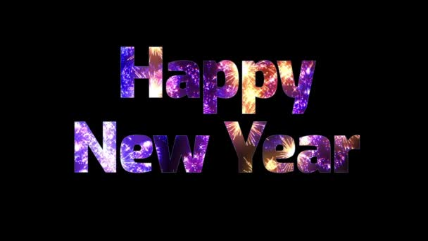 gyönyörű multi színes tűzijáték keresztül a szöveg boldog új évet. Összetétele az újév ünnepe. Fényes tűzijátékot, csodálatos fény show. V 3