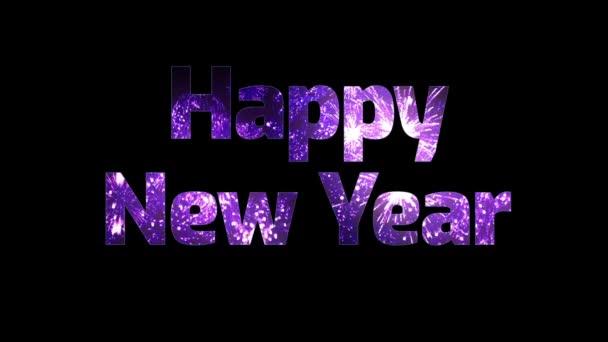 krásné fialové ohňostroj v textu šťastný nový rok. Skladba pro oslavu nového roku. Světlé ohňostroje, úžasné světelnou show. V1