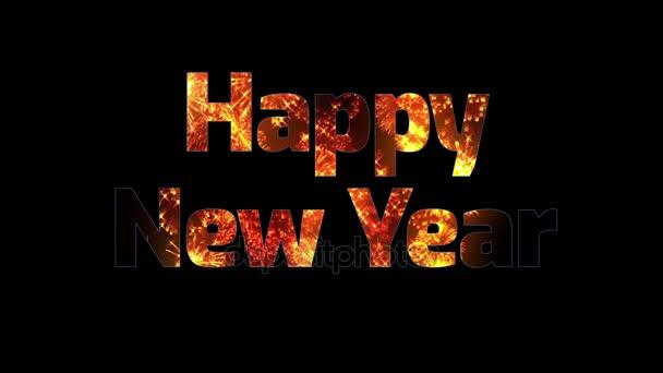 krásné zlaté ohňostroje v textu šťastný nový rok. Skladba pro oslavu nového roku. Světlé ohňostroje, úžasné světlo show.5