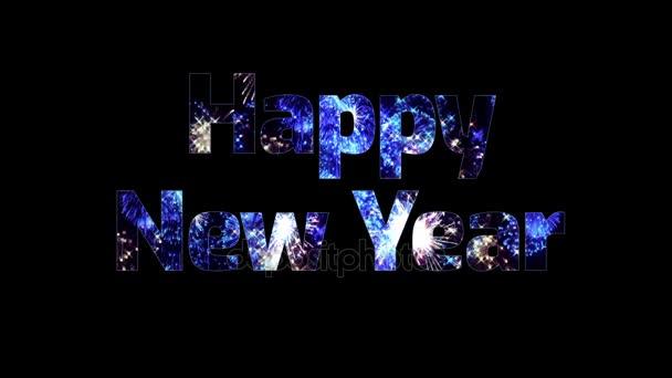 gyönyörű kék tűzijáték keresztül a szöveg boldog új évet. Összetétele az újév ünnepe. Fényes tűzijátékot, csodálatos fény show.3