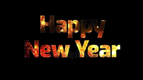 krásné zlaté ohňostroje v textu šťastný nový rok. Skladba pro oslavu nového roku. Světlé ohňostroje, úžasné světlo show.6