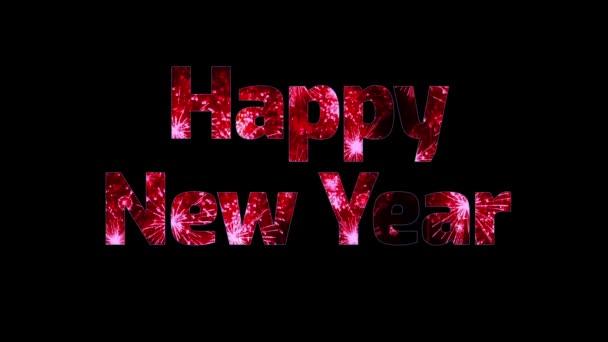 krásné červené ohňostroj v textu šťastný nový rok. Skladba pro oslavu nového roku. Světlé ohňostroje, úžasné světlo show.1
