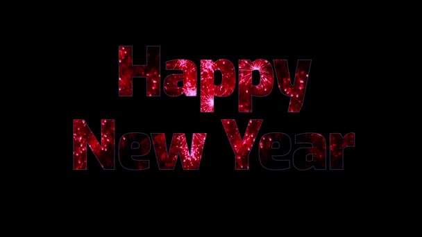gyönyörű piros tűzijáték keresztül a szöveg boldog új évet. Összetétele az újév ünnepe. Fényes tűzijátékot, csodálatos fény show.2