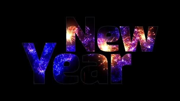 více krásné barevné ohňostroje záře přes text, šťastný nový rok. Skladba pro oslavu nového roku. Světlé ohňostroje, úžasné světelnou show. V1