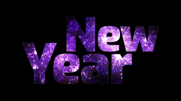 krásné fialové ohňostroje záře přes text šťastný nový rok. Skladba pro oslavu nového roku. Světlé ohňostroje, úžasné světelnou show. V1