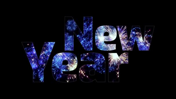 gyönyörű kék tűzijáték fénye át a szöveget, boldog új évet. Összetétele az újév ünnepe. Fényes tűzijátékot, csodálatos fény show. V1