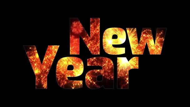 krásné zlaté ohňostroje záře přes text šťastný nový rok. Skladba pro oslavu nového roku. Světlé ohňostroje, úžasné světelnou show. V. 1
