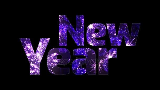 nádherný ohňostroj záře přes text šťastný nový rok. Skladba pro oslavu nového roku. Světlé ohňostroje, úžasná světelná show.