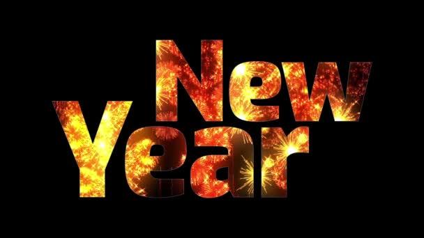 krásné zlaté ohňostroje záře přes text šťastný nový rok. Skladba pro oslavu nového roku. Světlé ohňostroje, úžasné světelnou show. V2