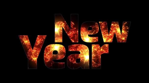 krásné zlaté ohňostroje záře přes text šťastný nový rok. Skladba pro oslavu nového roku. Světlé ohňostroje, úžasné světelnou show. V3