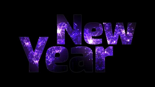 krásné fialové ohňostroje záře přes text šťastný nový rok. Skladba pro oslavu nového roku. Světlé ohňostroje, úžasné světelnou show. V3