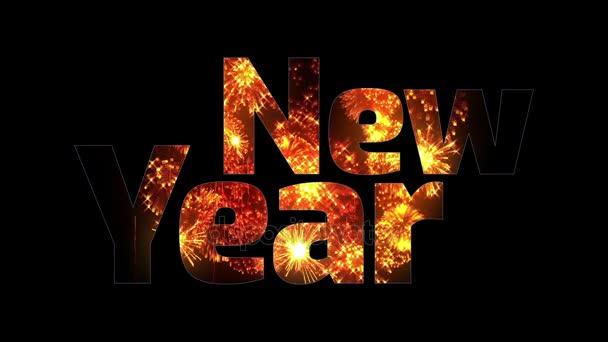 krásné zlaté ohňostroje záře přes text šťastný nový rok. Skladba pro oslavu nového roku. Světlé ohňostroje, úžasné světelnou show. V5