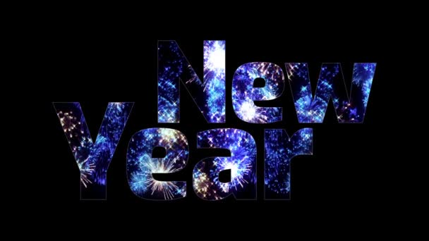 krásné modré ohňostroje záře přes text šťastný nový rok. Skladba pro oslavu nového roku. Světlé ohňostroje, úžasné světelnou show. V3