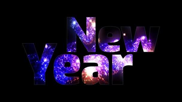 více krásné barevné ohňostroje záře přes text, šťastný nový rok. Skladba pro oslavu nového roku. Světlé ohňostroje, úžasné světelnou show. V6