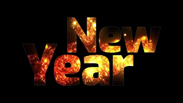 krásné zlaté ohňostroje záře přes text šťastný nový rok. Skladba pro oslavu nového roku. Světlé ohňostroje, úžasné světelnou show. V6