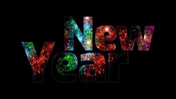 více krásné barevné ohňostroje záře přes text, šťastný nový rok. Skladba pro oslavu nového roku. Světlé ohňostroje, úžasné světelnou show. V12