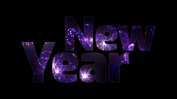 beautiful purple fireworks glow through the text Happy New Year. Composition for the new year celebration. Bright fireworks, amazing light show. V4