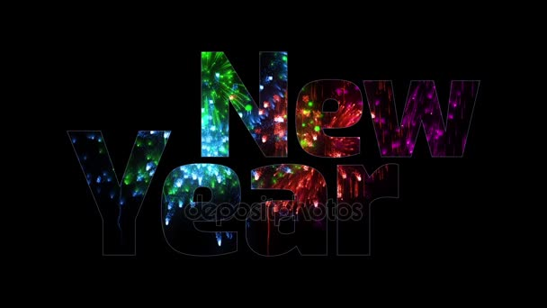 více krásné barevné ohňostroje záře přes text, šťastný nový rok. Skladba pro oslavu nového roku. Světlé ohňostroje, úžasné světelnou show. V15