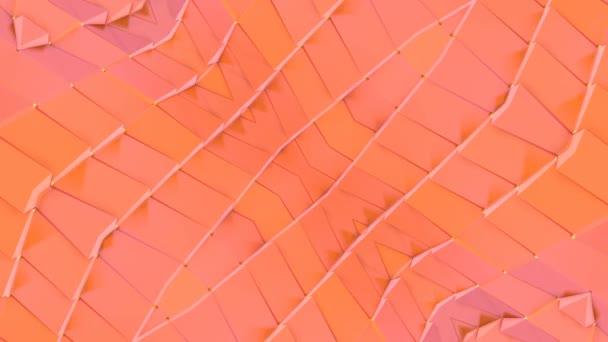 Abstraktní jednoduché 3d pozadí v oranžové barvy přechodu, nízká poly styl jako moderní geometrické pozadí nebo matematické prostředí s kaleidoskopický efekt. 4 k Uhd nebo Fullhd bezešvé smyčka. V3