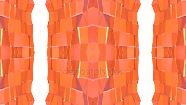Abstract simple 3D background in orange gradient color, low poly style as modern geometric background or mathematical environment with kaleidoscopic effect. 4K UHD or FullHD seamless loop.V5
