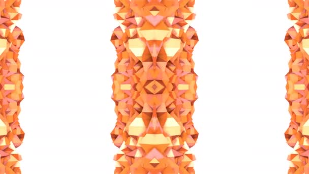 Abstract simple 3D background in orange gradient color, low poly style as modern geometric background or mathematical environment with kaleidoscopic effect. 4K UHD or FullHD seamless loop.V14