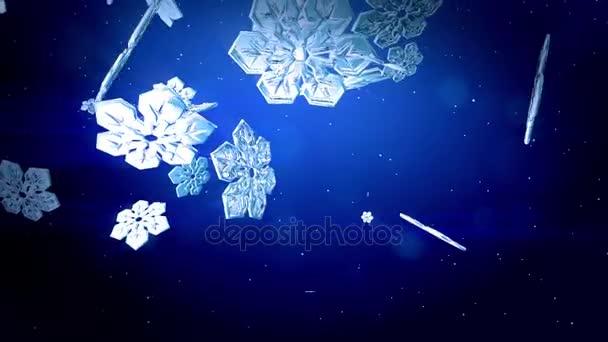 dekorativní 3d vločky vznášet ve vzduchu zpomaleně a lesk na modrém pozadí. Použít jako animovaný vánoční, novoroční přání s zářivé sněhové vločky, odlesk objektivu, bokeh. Sněhová vločka V2