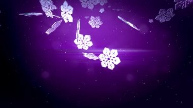 beautiful 3d snowflakes fall at night on a purple background. Use as animated Christmas, New Year card or winter environment with large snowflakes, lens flare, bokeh. Snowflake V7