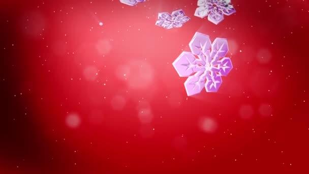 krásné 3d vločky vznášet ve vzduchu a svítit v noci na červeném podkladě. Použít jako animovaný vánoční, novoroční přání nebo pozadí s velkým sněhové vločky, odlesk objektivu, bokeh. Sněhová vločka V7.