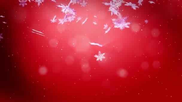 dekoratív 3d hópelyhek lebegnek a levegőben a lassú mozgás és ragyog a vörös háttérben. Használja az animált karácsonyi, újévi kártya nagy hópelyhek, lencse fényfolt, bokeh. Hópehely V4