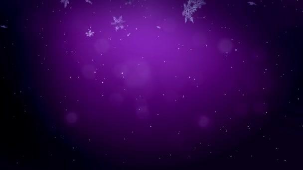 dekoratív 3d hópelyhek a levegő éjjel repül, lila háttér. Használata animált karácsony, újév kártya vagy téli környezet nagy hópelyhek, lencse fényfolt, bokeh. Hópehely V4
