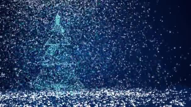 Bleu Grand Sapin De Noel De Lueur Brillantes Particules Sur Le Cote Gauche De L Ecran Theme Hiver Pour Fond De Noel Ou Du Nouvel An Avec L Espace De La Copie Arbre De Noel 3d V5 Avec Neige Dof