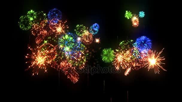 Buntes Feuerwerk als Feiertags-Hintergrund für Neujahr, Weihnachten oder andere Feierlichkeiten. Bunte Feuerwerkskörper sind isoliert auf schwarz. 3D Animation pyrotechnische Lichtshow. 21