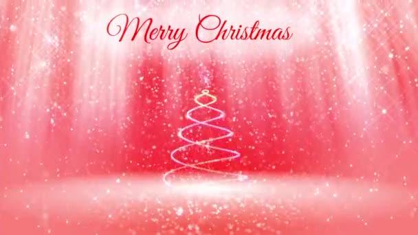 lehké složení pro nový rok nebo vánoční svátky s 3d vánoční stromek zářící částice a jiskří. Světelné paprsky a sněžení na červeném růžové pozadí. V2